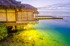 Overwater Bungalows at dusk, French Polynesia Royalty Free Stock Photos