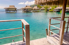 Overwater Bungalows, French Polynesia Stock Images