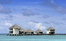 Overwater bungalows at Maldives Stock Image