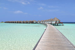 Overwater bungalows, Maldives. Beautiful overwater bungalows in a sunny day, Maldives stock photos