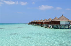 Overwater bungalows, Maldives. Beautiful overwater bungalows in a sunny day, Maldives stock photo