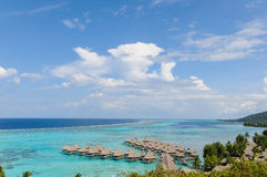 Overwater bungalows in Moorea royalty free stock images