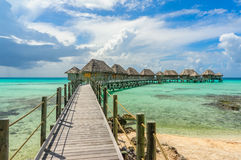 Overwater bungalows in Tikehau. Tahiti royalty free stock photos