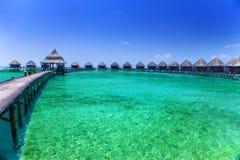 Overwater villas. Island in ocean, Stock Photo