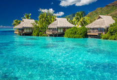 Overwater villas in lagoon of Moorea Island Royalty Free Stock Photography