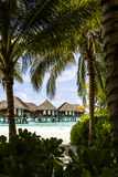 Overwater Villas with palm trees and a beach in the Maldives Stock Photos