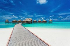 Overwater villas on the tropical lagoon, Maldives Stock Image