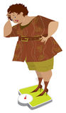 Overweight. Illustration of a lady on the scales scared of her weight Stock Photography