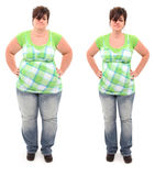 Before and After Overweight 45 year Old Woman Royalty Free Stock Photos
