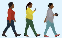 Overweight Black Women Walking Royalty Free Stock Photo