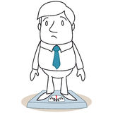 Overweight businessman standing on scales Stock Photography