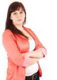 Overweight businesswoman with folded arms Stock Photo