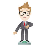 Overweight cartoon businessman on scales Royalty Free Stock Photos