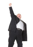 Overweight cheerful businessman, on white background Stock Photos
