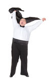 Overweight cheerful businessman, on white background Royalty Free Stock Image