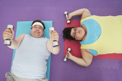 Overweight Couple Lifting Dumbbells Royalty Free Stock Image