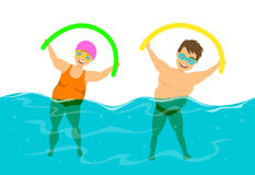 Overweight couple, man and woman do water aqua fitness aerobics in the pool. Overweight couple, man and woman do water aqua fitness aerobics in the swimming pool vector illustration