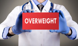 Overweight. Doctor`s hands in blue gloves shows the word overweight. Medical concept stock images