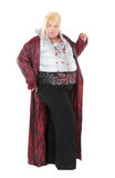 Overweight entertainer or disillusioned drag queen. With a cheap blonde wig and flowing robe over long a black skirt, humorous portrait on a white Royalty Free Stock Photos