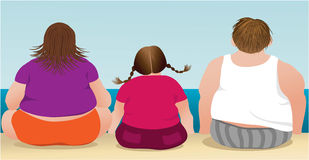Overweight family. On the beach royalty free illustration