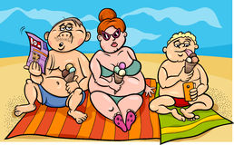Overweight family on the beach Stock Photos