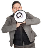 Overweight, fat businesswoman with megaphone Stock Photography