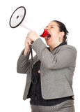 Overweight, fat businesswoman with megaphone Stock Photo