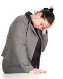 Overweight, fat businesswoman with pain Stock Photos