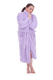 Overweight, fat woman in bathrobe Stock Image