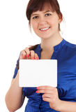 Overweight, fat woman with blank sign Stock Photography