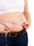 Overweight, fat  woman measuring her stomach Royalty Free Stock Image