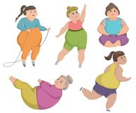 Overweight fat women are doing sports. Vector illustration Stock Images