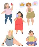 Overweight fat women set. Concept of unhealthy lifestyle and dieting. Royalty Free Stock Photo