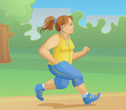 Overweight girl is jogging. Cartoon vector illustration Stock Image