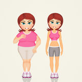 Overweight girl before and after sport. Illustration of overweight girl before and after sport Stock Photo