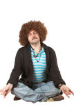 Overweight hippie meditating Royalty Free Stock Photography