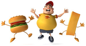 Overweight kid. Fat kid, 3d generated picture of a big teenager Stock Images