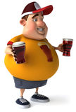 Overweight kid with beers Stock Photo