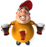 Overweight kid with beers Royalty Free Stock Photo