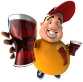 Overweight kid with beers. Fat kid, 3d generated picture of a big teenager Royalty Free Stock Image