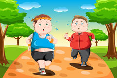 Overweight kids running. A vector illustration of overweight kids running in the park stock illustration