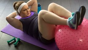 Overweight lady doing press-up exercises with gymnastic ball at home, workout stock photography