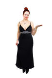 Overweight lady with stylish black dress Stock Photos