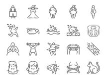 Overweight line icon set. Included the icons as fat, cholesterol, lose weight, exercise, scales and more. Vector and illustration: Overweight line icon set royalty free illustration
