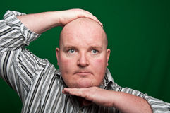 Overweight male on green screen Stock Images