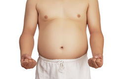 Overweight man with big belly . Royalty Free Stock Image