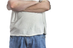 Overweight Man in blue jeans and white shirt Royalty Free Stock Photography
