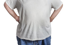 Overweight Man in blue jeans and white shirt Stock Photography