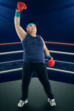 Overweight man celebrate winning 1 Royalty Free Stock Photography