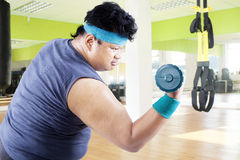Overweight man doing fitness 2 Stock Images